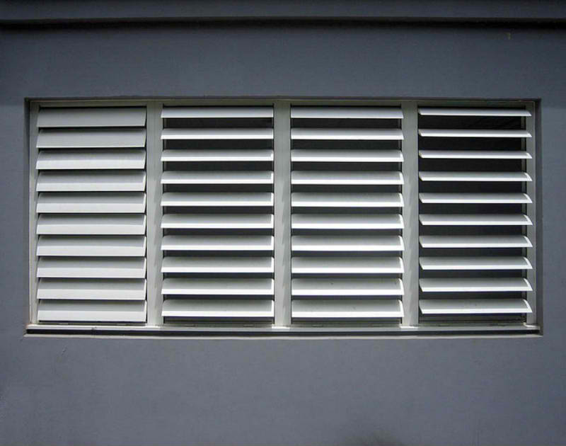 Aluminium powdercoated shutters or louvres provide style and good